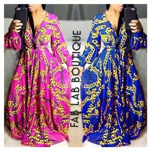 Long Sleeve Chain Printed Maxi Dress Plus Size